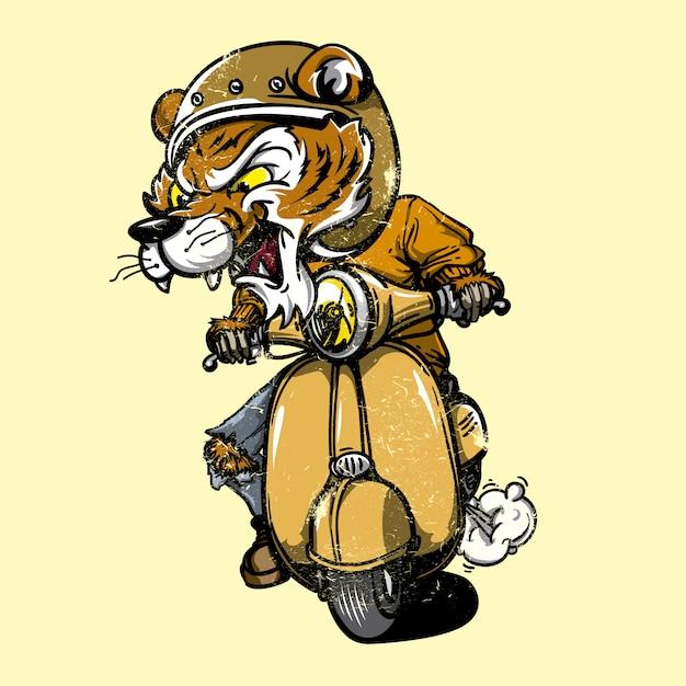 Tiger guida una moto Vettore gratuito