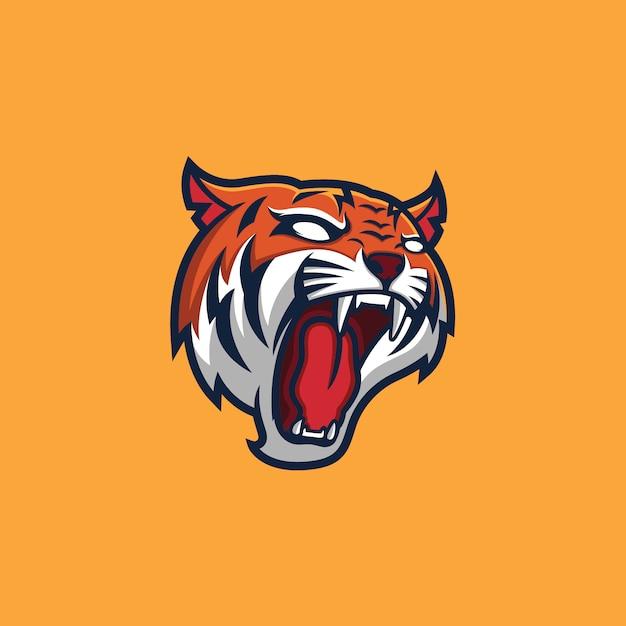 Tiger head mascot logo template Vettore Premium