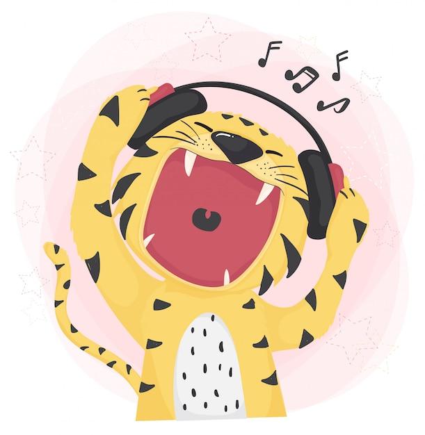 Tigre carina piatta aperta bocca larga ascoltando musica e cantando Vettore Premium