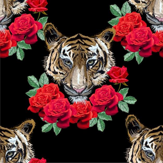 Tigre con motivo a rose senza soluzione di continuità Vettore Premium