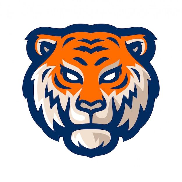 Tigre e sport logo mascotte modello illustrazione vettoriale Vettore Premium