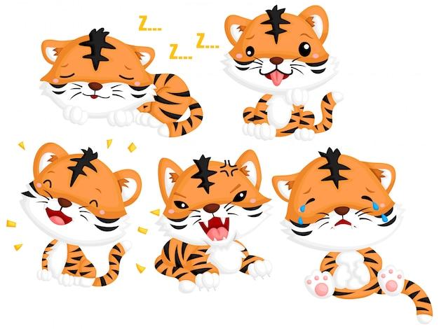 Tigre emotiva Vettore Premium
