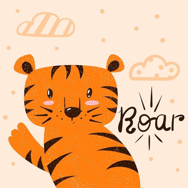 Tigre, illustrazione di ruggito. cartoon mano disegnare mostro personaggio per la stampa t-shirt. Vettore Premium
