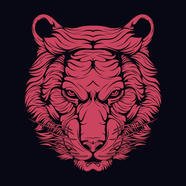 Tigre rossa Vettore Premium