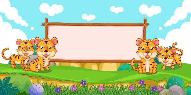 Tigri carine con un segno di legno bianco Vettore Premium