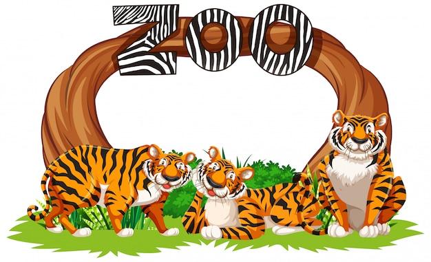 Tigri con il segno dell'entrata dello zoo Vettore gratuito