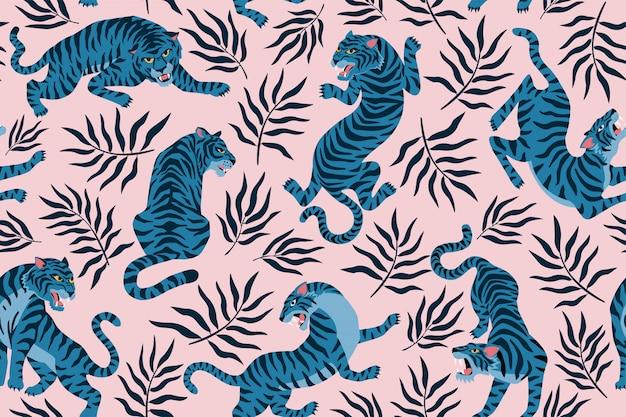 Tigri e foglie tropicali. illustrazione alla moda. modello senza cuciture contemporaneo astratto. Vettore Premium