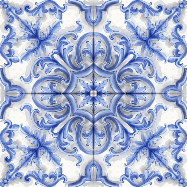 Tile o mosaico ornamento acquerello Vettore Premium