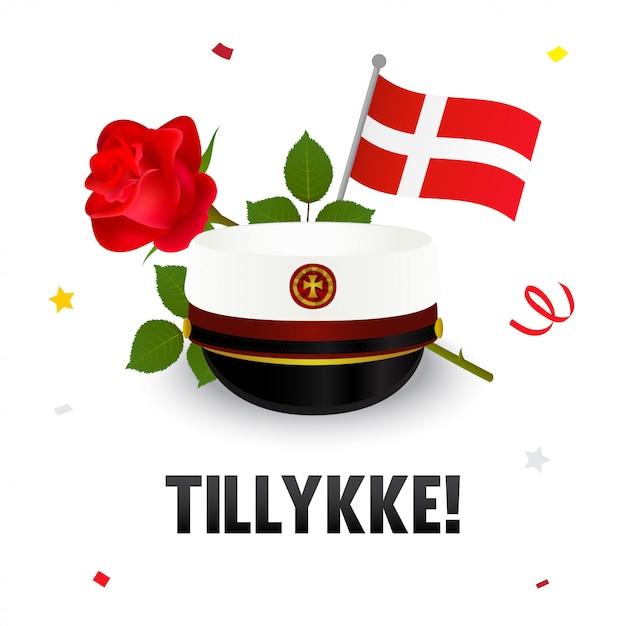 Tillykke! biglietto di congratulazioni, cappello di laurea danese Vettore Premium