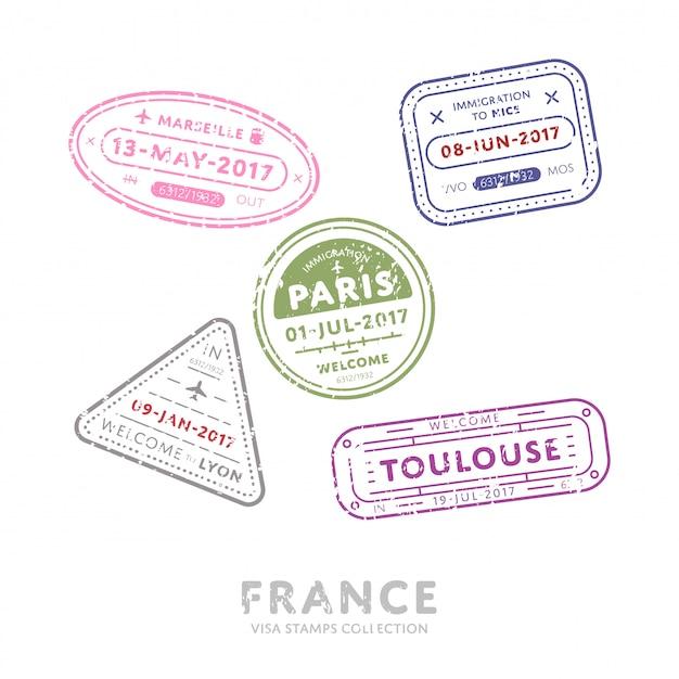 Timbri di visto per viaggi internazionali. Vettore Premium