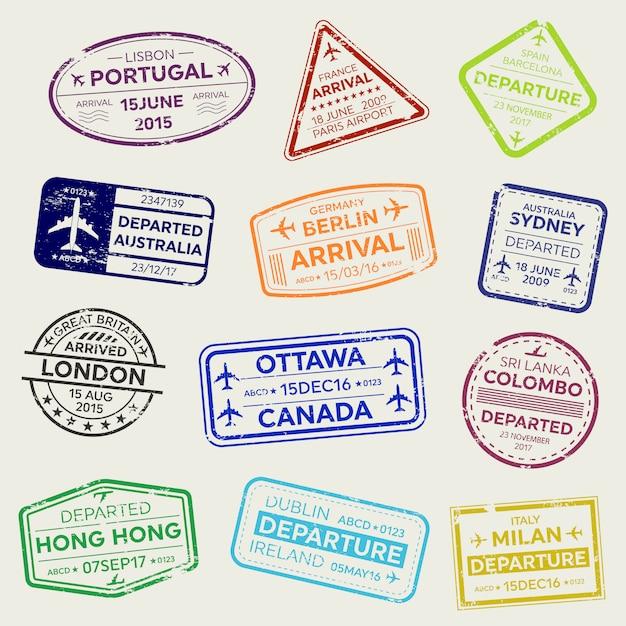 Timbro del passaporto del visto di viaggio business internazionale. Vettore Premium