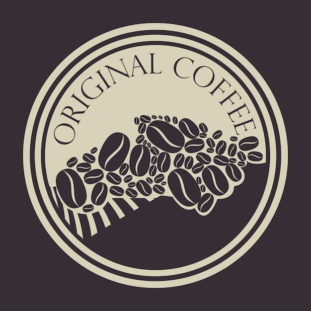 Timbro originale con chicchi di caffè Vettore gratuito