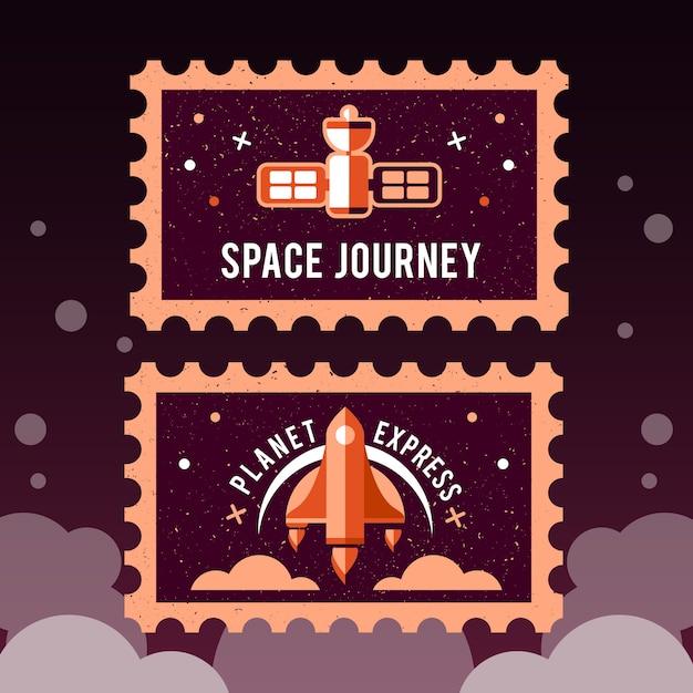Timbro postale con razzo nello spazio e timbro grunge Vettore gratuito