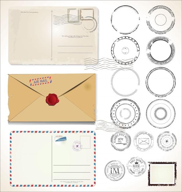 Timbro postale e cartoline postali Vettore Premium
