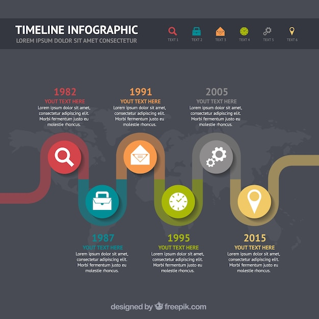 Timeline esperienza lavorativa infografica Vettore gratuito