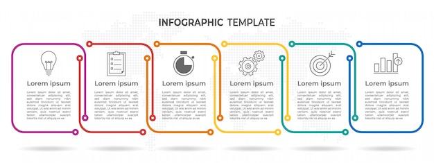 Timeline infografica 6 opzioni. Vettore Premium