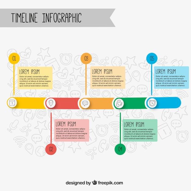 Timeline infografica con cinque opzioni e gli elementi disegnati a mano Vettore gratuito