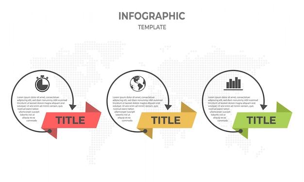 Timeline infografica linea sottile design, opzioni circle 3. Vettore Premium