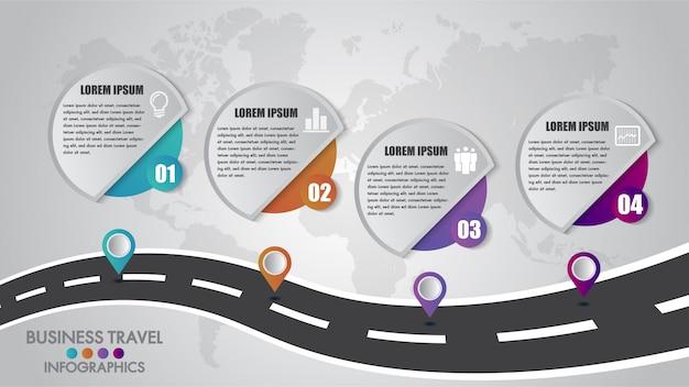 Timeline infografica modello 4 opzioni di progettazione con un modo di strada e puntatori di navigazione Vettore Premium