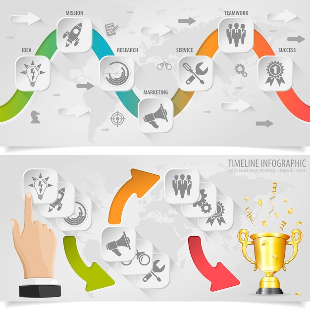 Timeline infografica Vettore Premium