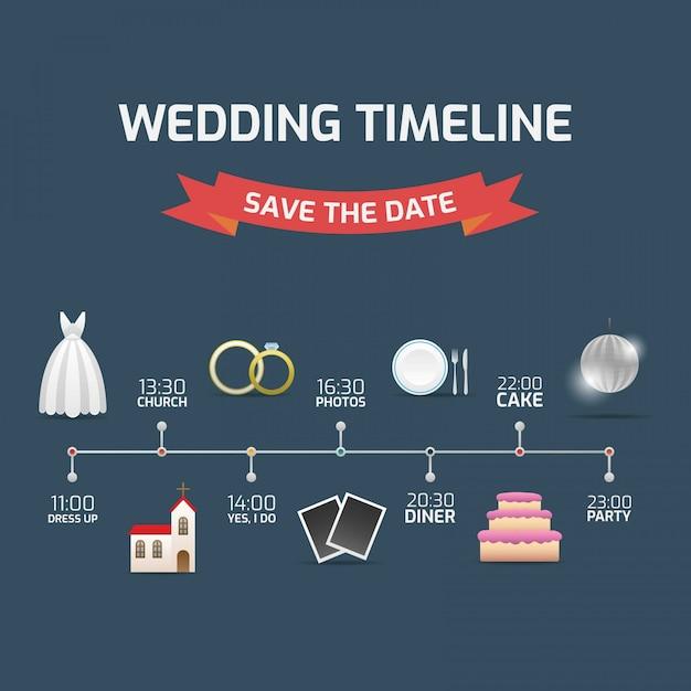 Timeline promemoria per matrimoni Vettore gratuito
