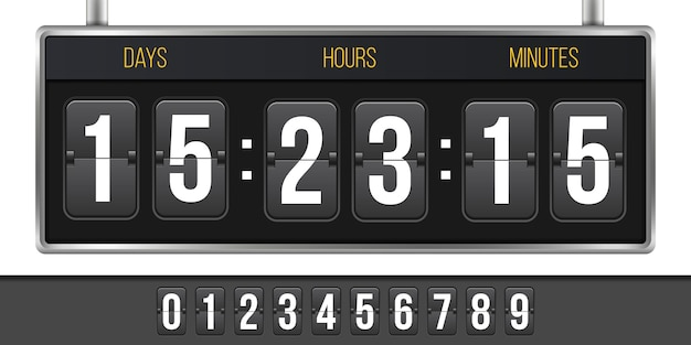 Timer orologio digitale, conto alla rovescia, in arrivo. Vettore Premium