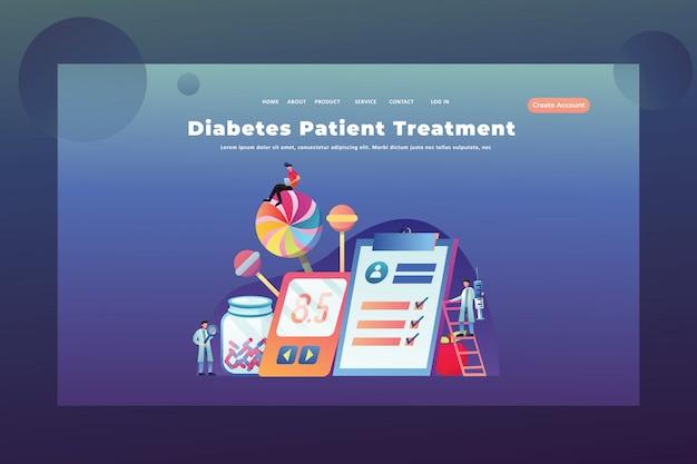 Tiny people concept trattamento del diabete nella pagina web dell'intestazione della pagina web medica e scientifica Vettore Premium