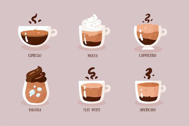 Tipi di caffè illustrazione concetto Vettore gratuito