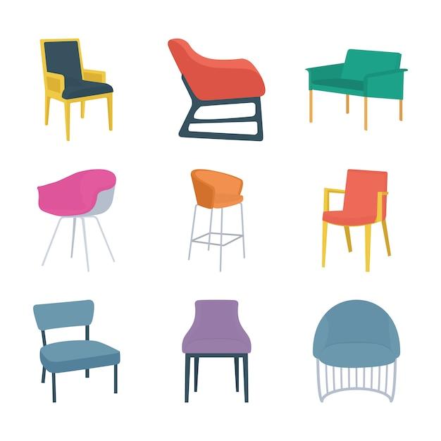Tipi di icone piane di sedie Vettore Premium