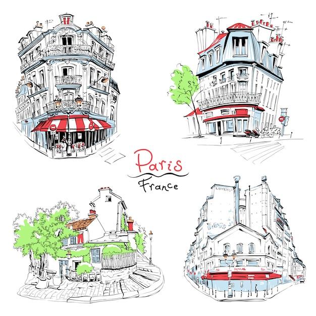 Tipiche case parigine, francia Vettore Premium