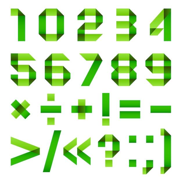 Tipo di carattere carta piegata verde Vettore Premium