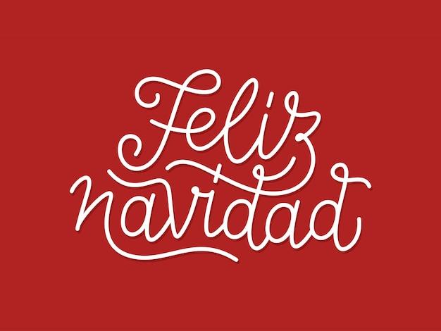 Tipografia calligrafica di feliz navidad linea arte Vettore Premium