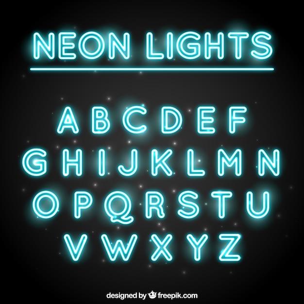 Tipografia decorativo fatto con tubi fluorescenti Vettore gratuito