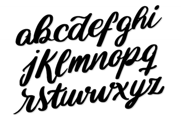 Tipografia di carattere alfabeto scritta a mano Vettore gratuito