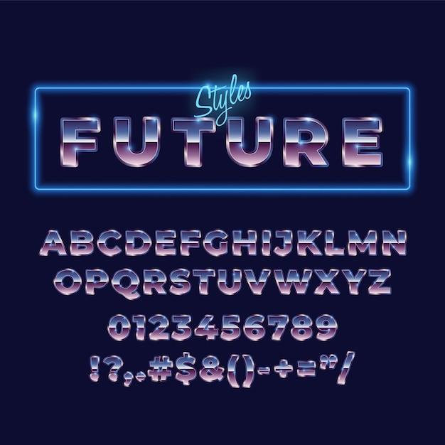 Tipografia di carattere retrò alfabeto metallico anni '80 Vettore Premium