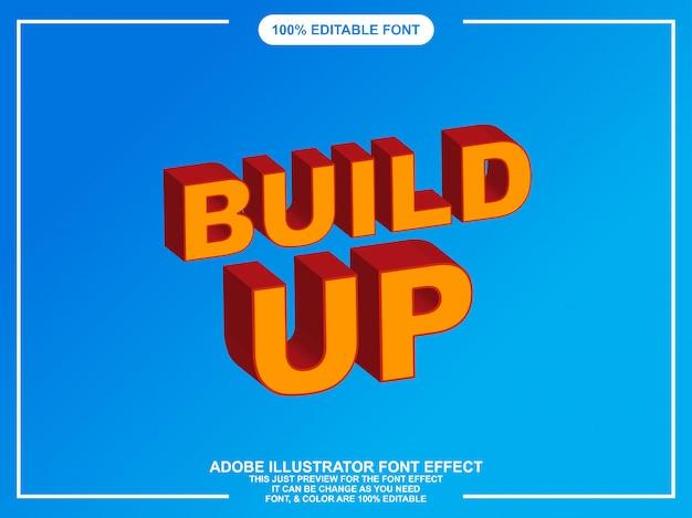 Tipografia editabile audace di illustratore di stile grafico isometrico Vettore Premium