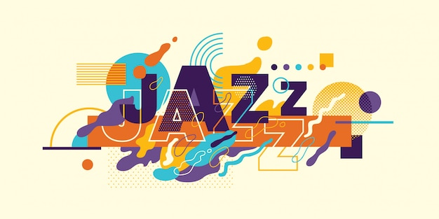 Tipografia jazz astratta. Vettore Premium