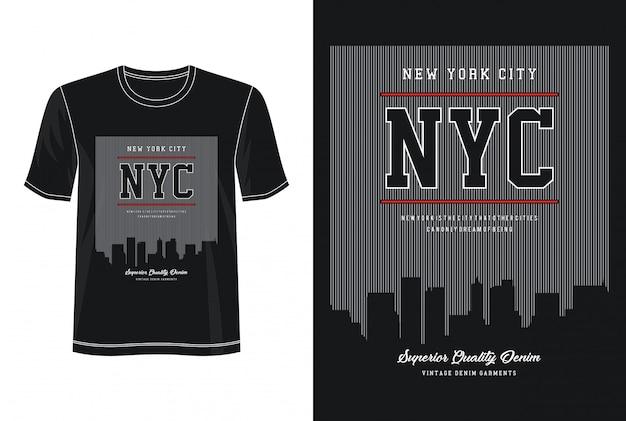 Tipografia nyc per t-shirt stampata Vettore Premium