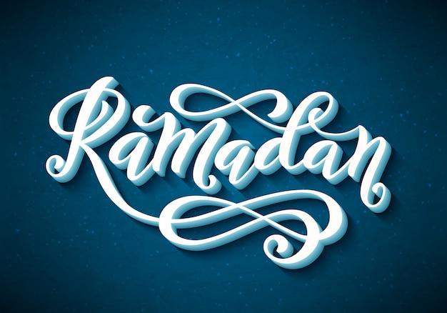 Tipografia ramadan kareem con lettere disegnate a mano Vettore Premium