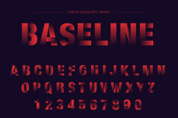 Tipografia rosso grassetto affettato Vettore Premium