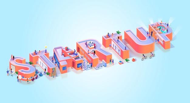 Tipografia startup creative business idea banner Vettore Premium