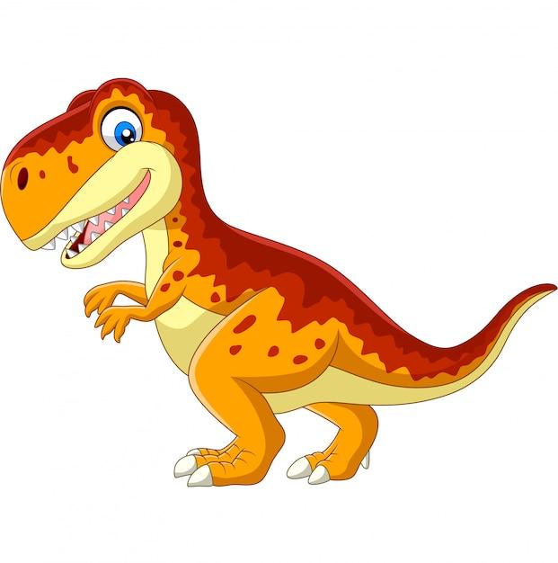 Tirannosauro del fumetto isolato su bianco Vettore Premium