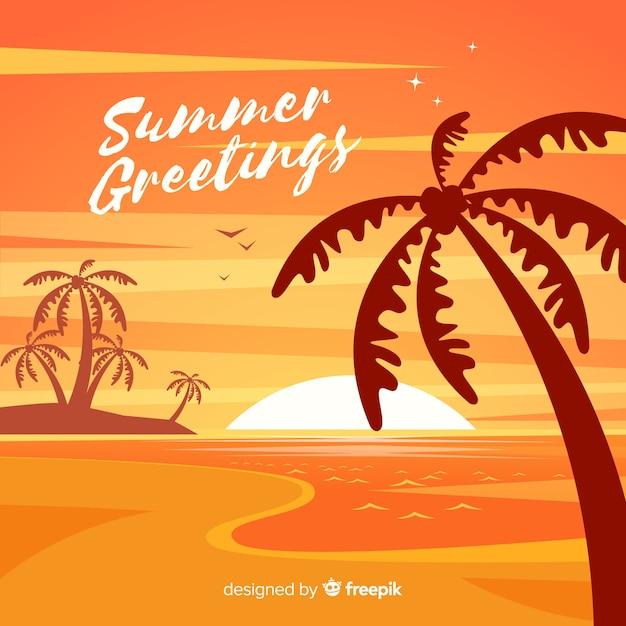 Tiri l'alba al tramonto con la siluetta della palma Vettore gratuito