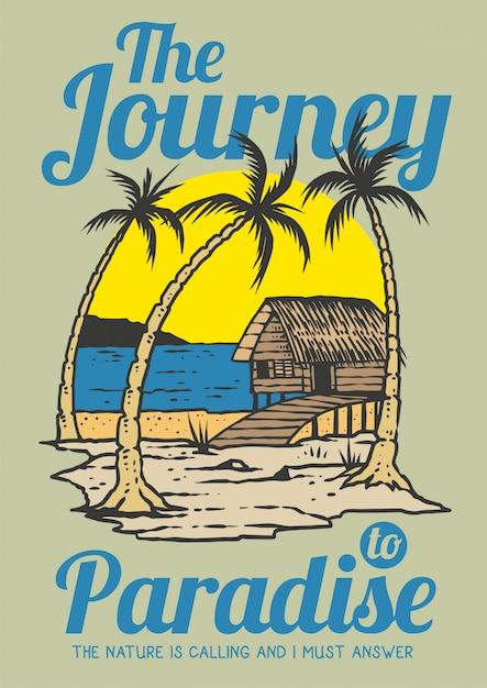 Tiri la cabina in secco il giorno di estate con la palma tropicale e il tramonto nella retro illustrazione di vettore degli anni 80 Vettore Premium