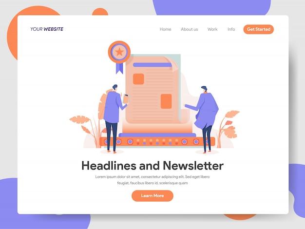Titoli e illustrazione newsletter Vettore Premium