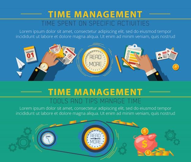 Tme management concept 2 set di banner Vettore gratuito