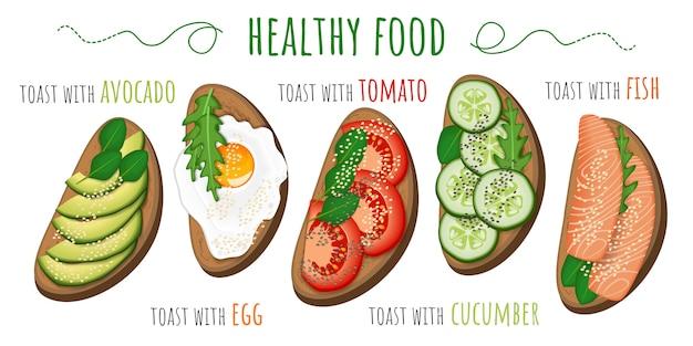 Toast con avocado, pomodoro, uovo fritto, cetriolo e pesce Vettore Premium