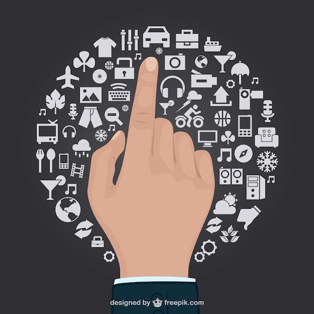 Toccare gesto della mano vettore libero Vettore gratuito
