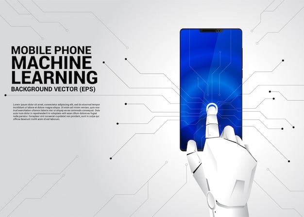 Tocco della mano robot sullo schermo del telefono cellulare Vettore Premium