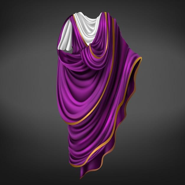 Toga romana antica roma comandante o imperatore vestito da uomo in tessuto bianco, viola con bordo dorato drappeggiato attorno al corpo, abito piegato, costume storico. illustrazione realistica di vettore 3d Vettore gratuito
